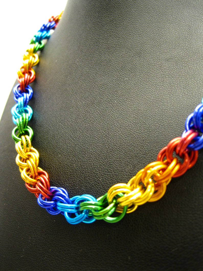 Rainbow Double Spiral Chainmaille Necklace image 0