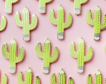 Cactus Pencil Hard Enamel Pin | Cactus Enamel Pin | Pencil Enamel Pin | Lapel Pin | Hard Enamel Lapel Pin | Writers Block | Artists Pin