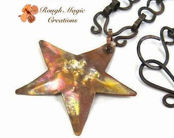 Antiqued Copper Starfish Pendant, Dark Copper Chain Necklace, Rustic Metal Star, Boho Beach Theme, Celestial Jewelry for Women, Gift for Men
