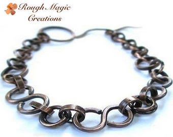 Antiqued Copper Bracelet, Father's Day Gift, Rustic Metalwork Jewelry, Dark Oxidized Copper Chain & Toggle, Unisex for Women and Men B187
