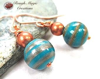 Turquoise Lampwork Earrings, Blue Green Lamp Work, Copper, Glitter Beads, Aqua Earrings, Large Dangle Earrings for Her, Gift for Women  E484