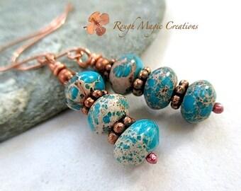 Turquoise Earrings, Blue Green Tan Stones, Copper Dangles, Gift for Women, MultiColor Gemstone, Serpentine Jasper, Semi Precious Gems  E436