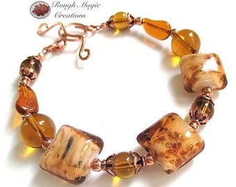 Chunky Lampwork Bracelet, Golden Amber Topaz Glass Beads, Copper, Large Glitter Beads, Autumn Leaves, Fall Colors, Toggle Clasp B553
