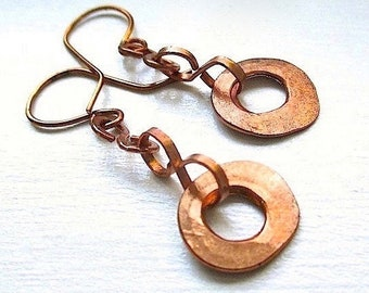 Raw Copper Earrings, Boho Jewelry, Rustic Primitive Metalwork, Hammered Copper, Bohemian Statement, 7th Anniversary Gift for Women E216