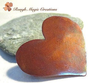 Rustic Heart Brooch, Antique Copper Patina, Primitive Hammered Texture, 7th Anniversary Gift for Women, Simple Minimalist Metal Pin P108