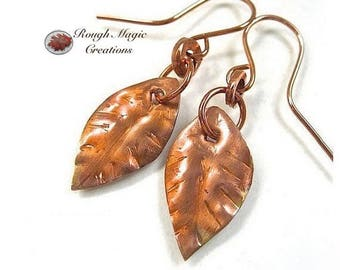 Handmade Leaves Earrings, Rustic Copper, Jewelry for Women, Primitive Metalwork, Autumn Leaf, Woodland Theme, 7th Anniversary Gift E139