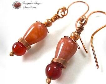 Red Orange Gemstone Earrings, Copper, Agate Teardrops, Carnelian Stones, Modern Renaissance, Eclectic Jewelry, Boho Gift for Woman E315