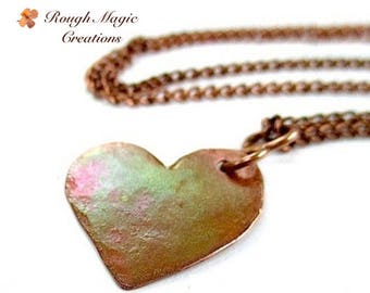 Antiqued Copper Heart Pendant, Chain Necklace, Romantic Anniversary Gift, Rustic Primitive Metalwork, Hammered Metal Jewelry for Women N292