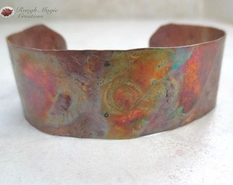 Colorful Cuff Copper Bracelet, Hammered Textured Metal, Hand Forged Metalwork, Multicolor Patina, 3/4 Inch Wide Band, Size 6 Inch Bracelet
