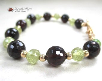Garnet Gemstone Bracelet, January Birthstone, Dark Red Stone, Green Grossular Garnet, Semi Precious Gems, Gold Beads, Toggle Clasp B149