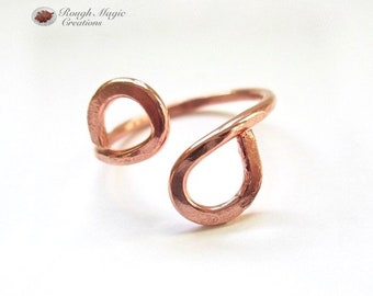 Minimalist Copper Ring, Rustic Primitive Metalwork, Adjustable Ring, Womens Mens Jewelry, 7th Anniversary Gift His & Hers for Couple R115