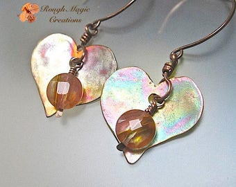 Sweetheart Jewelry, Heart Earrings, Antiqued Copper, Pink Gemstone Cherry Quartz, Large Boho Dangles, Colorful Copper, Romantic Gift E287