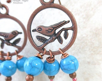 Bird on Branch Earrings, Antique Copper, Boho Hoops, Robins Egg Blue Beaded Drops, Nature Inspired, Woodland Theme, Spring Statement E510