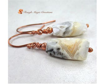 Gemstone Earrings, Chunky Long Stone Dangles, Earthy Gray Honey Gold Cream Crazy Lace Agate, Copper Earwires, Boho Gift for Woman E492A
