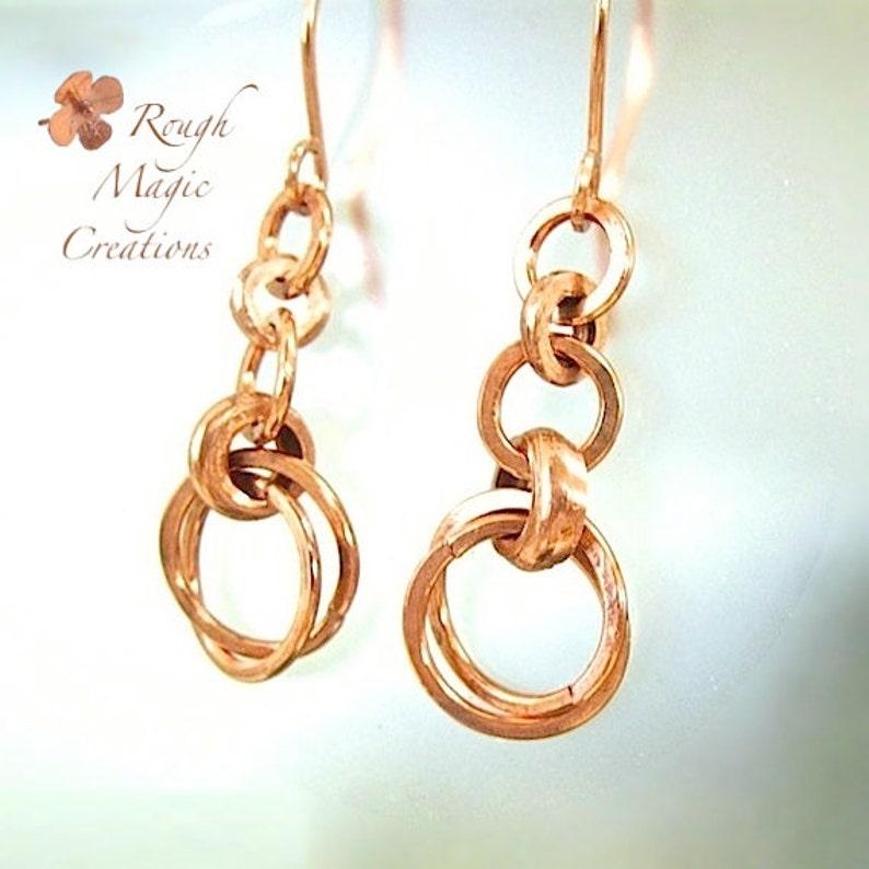 Interlocking Circle Drops E300 Solid Copper Earrings Long Boho Dangles