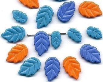 Vintage Leaf Beads 3 Color Mix of Periwinkle, Orange & Aqua Glass - WG
