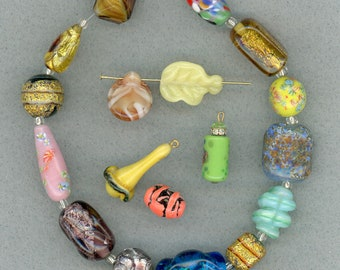 Vintage Beads Mixed Lot of 18 Pcs. Mostly Focals & Foils
