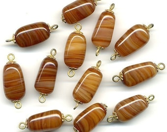 Vintage Brown Agate Glass Beads 18mm w/ Bead Caps & Eye Pin 12 Pcs. Made in Japan