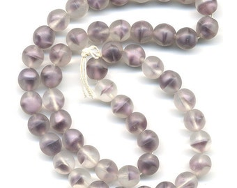 Vintage Purple Beads 8mm Soft Lavender Givre Glass Matte Finish 50 Pcs. Made in W.Germany