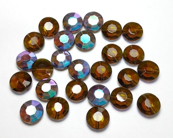Vintage 11mm Warm Brown AB Beads 9mm Flat Round Glass Made Western Germany 16 Pcs.