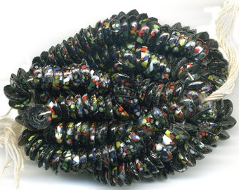 Vintage Black Nailhead Beads Colorful End of Day Glass 8mm Round Sew Ons 72 Pcs