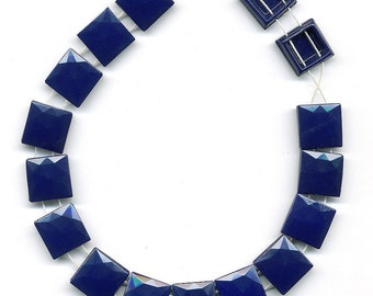 Vintage 13mm Navy Nailhead Beads Square Opaque Dark Blue Two Holes 16 Pcs.