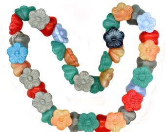 Vintage Flower Beads Assorted Colors 13mm Button Back Glass Western Germany 37 Pcs.