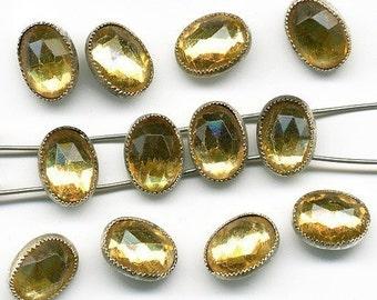 Vintage Rose Montee Beads Topaz Glass 8mm x 6mm Oblong 2 Hole Metal Bezel 12 Pcs