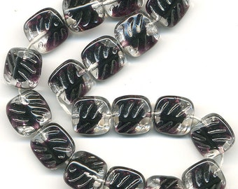 Vintage Black Givre Beads Textured Glass Squares Choose 9mm or 12mm Made W.G.