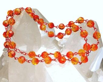 Swarovski 8mm Fireopal Crystal Beads Art. 5000 Linked with Orange Wire 39 Pcs.