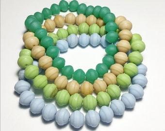 Vintage 9mm Matte Glass Beads 9mm Saturn Shape Choose Color