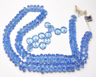 Vintage Sapphire Blue Crystal Beads Faceted 8x3mm Rondelles Made in Japan 48 Pcs.
