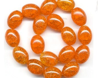 Vintage Orange Crackle Glass Beads 14mm Smooth Ovals Bright Juicy Tones 8 Pcs.
