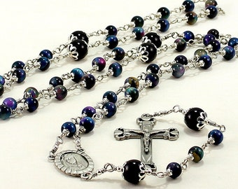 Mother of Sorrows Rosary Beads Pieta Pewter Rainbow Tiger Eye Multi Color Galaxy Blue Pink Catholic, Five Decade,Unbreakable Wire Wrapped,