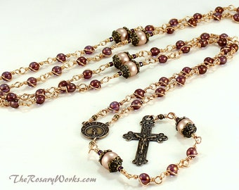Stella Maris Rosary Beads Our Lady Star of the Sea Bronze Purple Bohemian Glass Bronze Luster Catholic Traditional Unbreakable Wire Wrapped