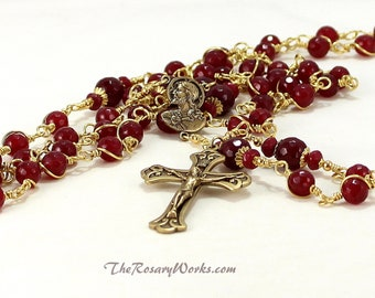 Sacred Heart Rosary Beads Solid Brass Red Jade Rosaries Vintage Style Wire Wrapped Rosary Unbreakable Catholic Five Decade The Rosary Works