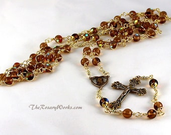 Sacred Heart Rosary Beads Iridescent Amber Czech Glass  Scapular Solid Brass Wire Wrapped Unbreakable Beads Traditional Catholic Five Decade