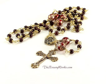Miraculous Medal Rosary Beads Catholic Rosary Unbreakable Wire Natural Garnet Red Tensha Beads Solid Brass Traditional 5 Decade Dominican
