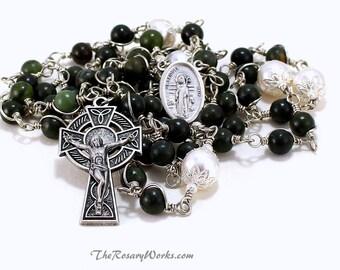St Brigid Irish Rosary Beads Celtic Dark Green Hand Carved Connemara Marble St Bridget White Swarovski Pearls Wire Wrapped Unbreakable