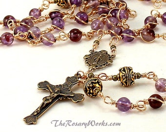Miraculous Medal Rosary Beads Purple Phantom Amethyst Solid Bronze Catholic Rosary Traditional Unbreakable Wire Wrapped The Rosary Works