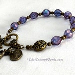 Miraculous Medal Rosary Bracelet Chaplet Single Decade St Benedict Bronze Purple Amethyst Luster Czech Bohemian Glass Beads