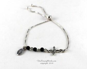 Three Hail Mary Marys Devotion Chaplet Bracelet Miraculous Medal Celtic Cross Knot Black Onyx Catholic Prayer Beads One Size Fits All Smart