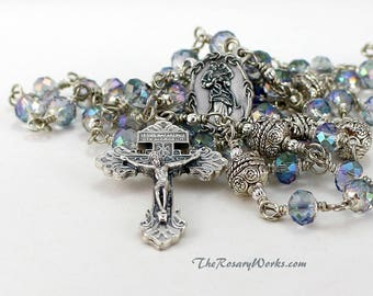 Mary Undoer of Knots Rosary Beads Untier Pardon Crucifix Ice Blue Crystals Wire Wrapped Unbreakable Prayer Traditional Catholic 5 Decade