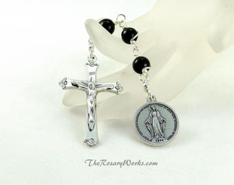 Three Hail Mary Devotion Chaplet Miraculous Medal Black Onyx Wire Wrapped Unbreakable