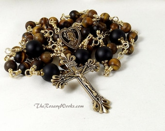 Sacred Heart Rosary Beads Matte Tiger Eye Solid Brass Scapular Brown Onyx Black Wire Wrapped Unbreakable Traditional Catholic Gift Rosary