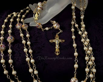Custom Lazo Wedding Rosary Lasso White Wedding Cake Lampwork Beads Miraculous Medal Gold Finished Lead Free Pewter Unbreakable