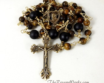 Matte Tiger Eye Rosary Beads Sacred Heart Scapular Brown Onyx Black Solid Brass Wire Wrapped Unbreakable Prayer Beads Traditional Catholic