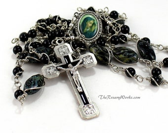 Mother of Sorrows Rosary Beads Stations of the Cross Crucifix Mater Dolorosa Pewter Black Onyx Bohemian Glass Unbreakable Wire Wrapped