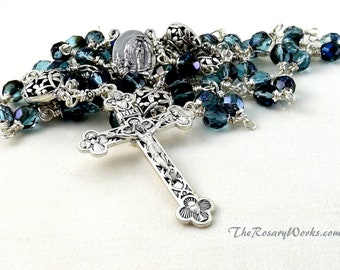 Our Lady of Lourdes Rosary Beads Relic Holy Water St Bernadette Blue Czech Dragonfly Puffy Hearts Catholic Unbreakable Wire Wrapped