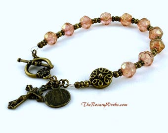 Vintage Style St Benedict Rosary Bracelet Chaplet Pink Holy Spirit Miraculous Medal Bronze Bali Style Bead Bohemian Glass Single Decade